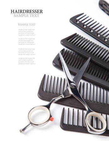 scissors and combs on white Stockfoto
