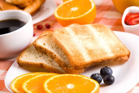 breakfast with toasts jam and fruits Stock Photo - 11882448