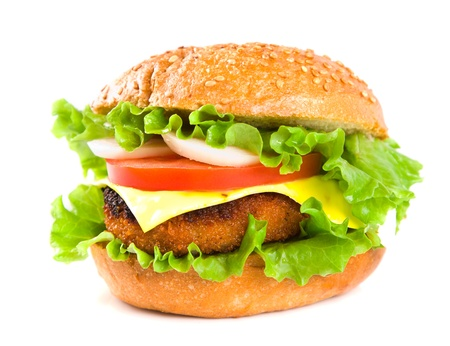 hamburger with fish cutlet and vegetables isolated on white background photo