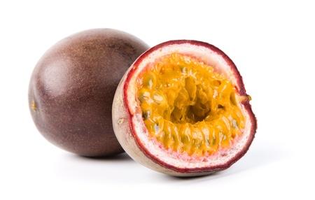 exotic fruits: passion fruit isolated on white