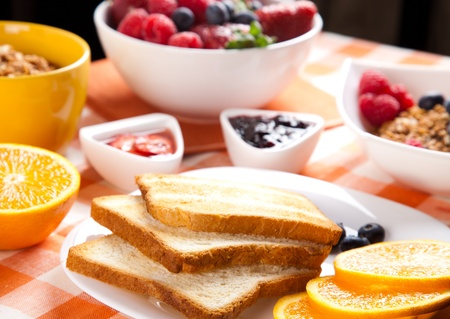 breakfast with muesli,  toasts,  jam and fruits Stock Photo - 11939174