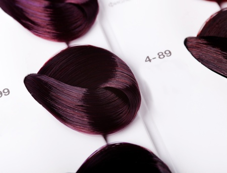 dyed locks of hair in palette photo