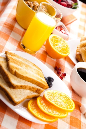 breakfast with toasts jam and fruits Stock Photo - 12023079