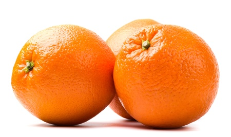 three oranges isolated on white background Archivio Fotografico