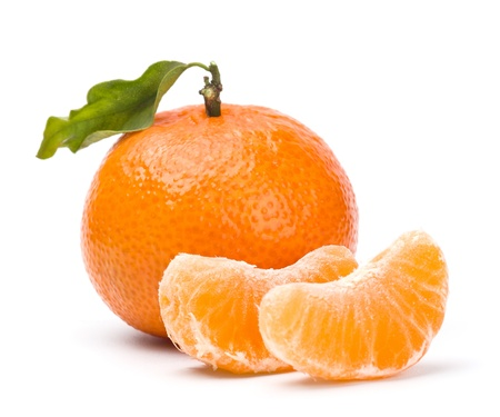 tangerines with leaves and segments isolated on white Stok Fotoğraf - 12185607