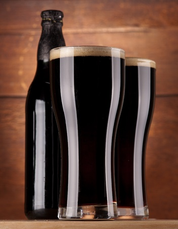 glasses of fresh dark beer Stock Photo - 12185506