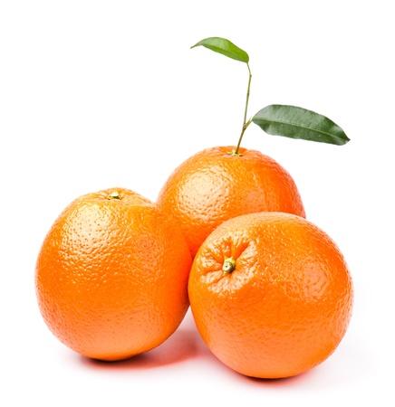 three oranges with leaf isolated on white background Stockfoto