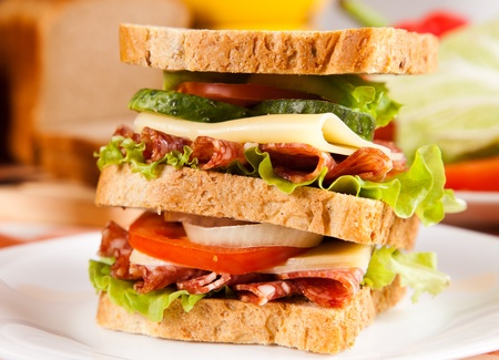 big sandwich with fresh vegetables on plate on table photo