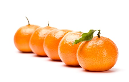 tangerines with leave isolated on white photo