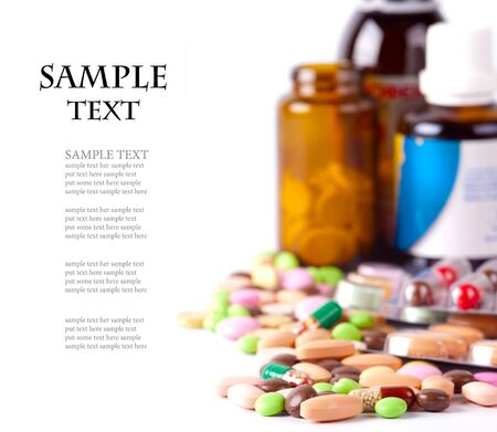 hospital background: heap of colorful pills. medical background Stock Photo