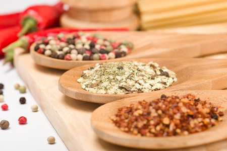 different sorts of spices and peppers Stock Photo - 12921848