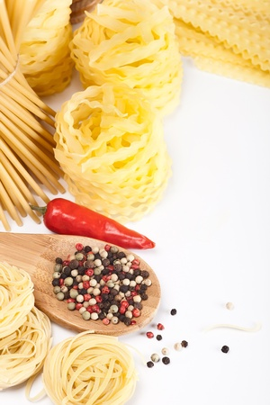 different pasta and noodle on white background photo
