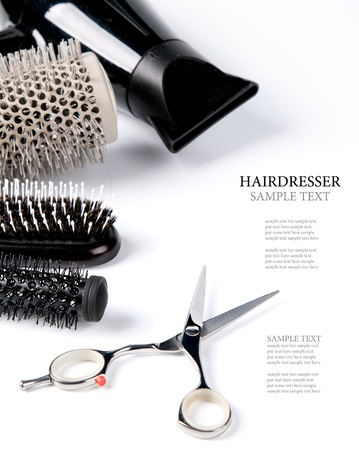 salon background: scissors and combs on white Stock Photo