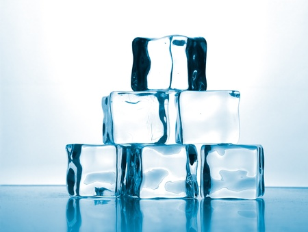ice cubes on glass table  Stock Photo - 13911106