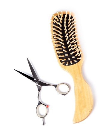 haitdresser scissors,  combs and brush on white background Stock Photo - 14049993