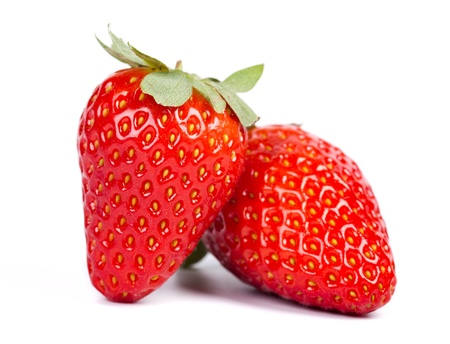 red ripe strawberries isolated on white background Stok Fotoğraf