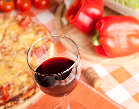 glass of red wine and food Stock Photo - 17416521