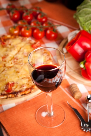 glass of red wine and food Stock Photo - 17963907
