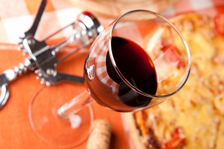 glass of red wine and food Stock Photo - 20709515