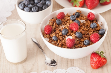 muesli with berries on table photo