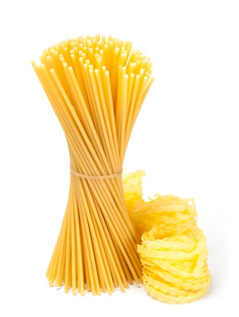 yelloow: different pasta and noodle on white background