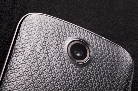 photocamera: macro shot of photocamera on smartphone