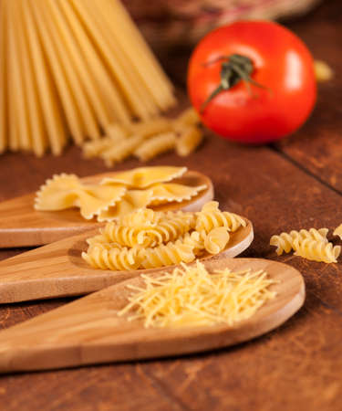 spaghetti and noodle on table. selective focus Stock Photo