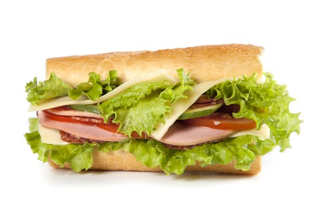 bologna baloney: big sandwich with fresh vegetables isolated on white background