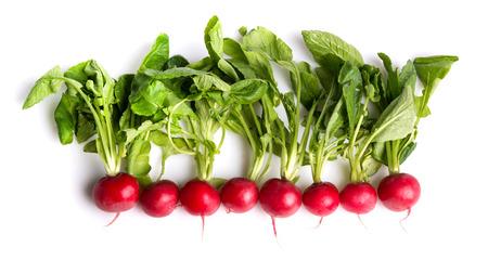 tas de radis isolé sur blanc Banque d'images