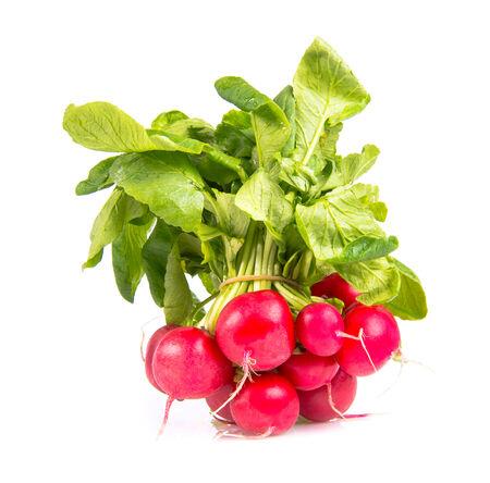 radishes: heap of radishes isolated on white Stock Photo