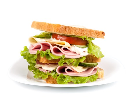 big sandwich with fresh vegetables on white plate photo