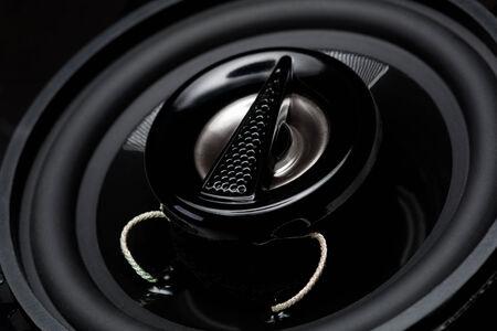 Closeup view of black bass speaker photo