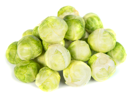 Fresh green Brussels sprouts, cabbage isolated on white photo