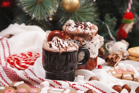 two cups of cocoa photo