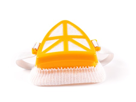 respirator: yellow construction respirator mask on a white background