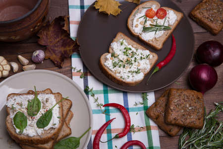 Sandwich with soft cheese photo