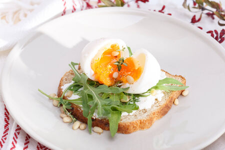 barberry: sandwiches with eggs Stock Photo