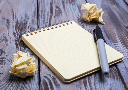 diagonal diary education: notebook with a marker