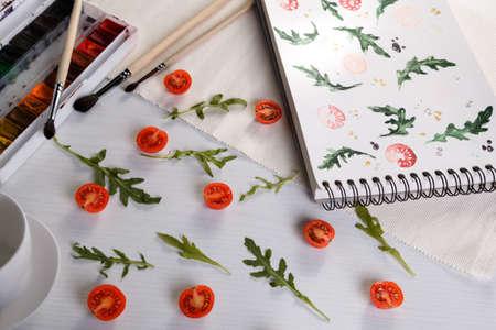 cherry tomatoes ans arugula photo