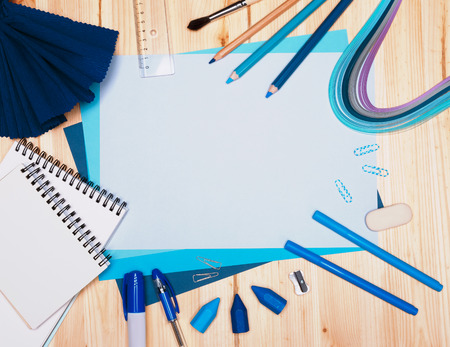 coloured background: drawing materials Stock Photo