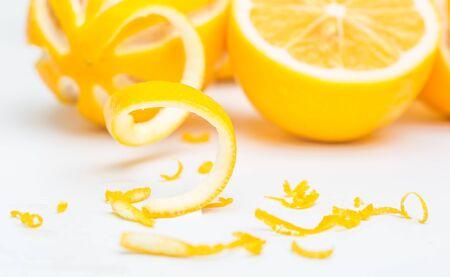 fresh pile of lemon and lemon peel