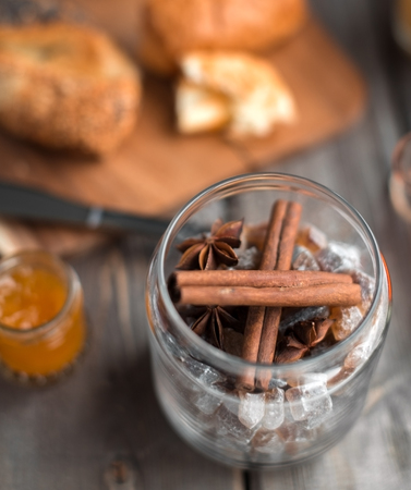 orenge: cinnamon and cardamom with sugar in the glassy jar