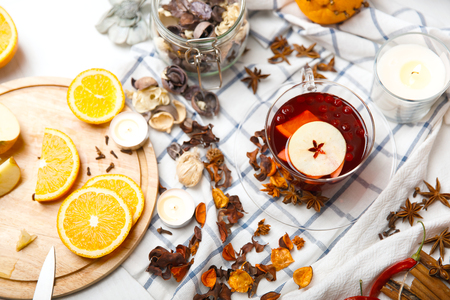 cup of hot mulled wine  among the many delicious detail