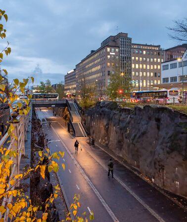 Helsinki citycenter. Nature oriented scandinavian architecture. Evening after the rain in Helsinki, Finland.