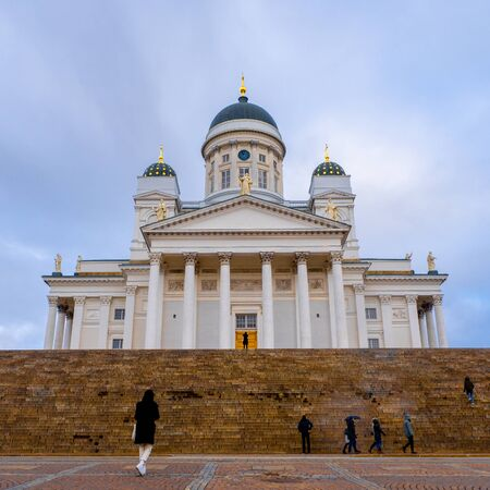 Helsinki Cathedral in rainy weather. Helsinki, Finland Stok Fotoğraf