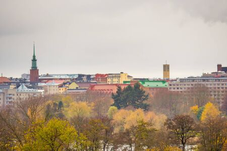 Cityscape of helsinki, finland - architecture background. View from mountin on colorful roofs. Rainy weather. Stok Fotoğraf