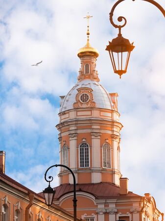 Orthodox church with blue sky. One of the buildings in lavra of alexand nevskiy. Saint-Petersburg, Russia.