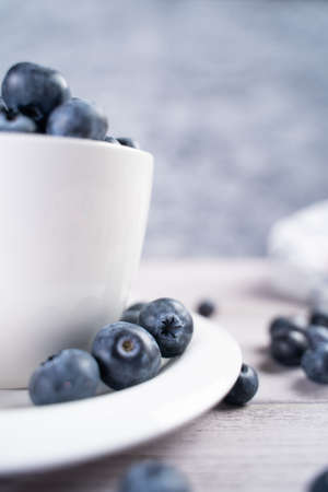 Bunch of fresh blueberries placed on ceramic plate and in white bowl on table Stok Fotoğraf