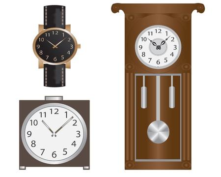wristwatch: Various clock-watches, wall clocks and alarm clock