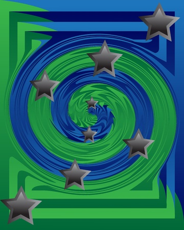 whirlpool:   Whirlpool of blue and green with gray stars
